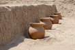 Ceremonial Clay pots at Huaca Pucllana, Lima, Peru