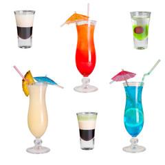 Cocktails set Blue Lagoon, Pina Colada, Sunrise