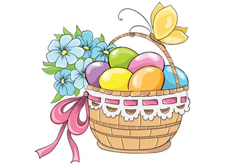 Easter basket with eggs and bouquet of flowers