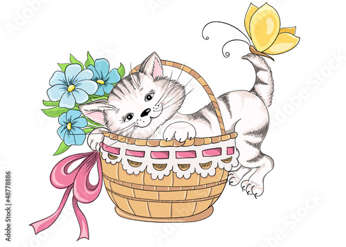 Vector hand drawing kitty and bouquet of flowers in basket