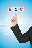 Businessman with word B2C poster
