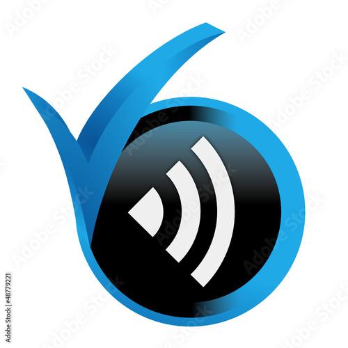 réseau sur bouton validé bleu