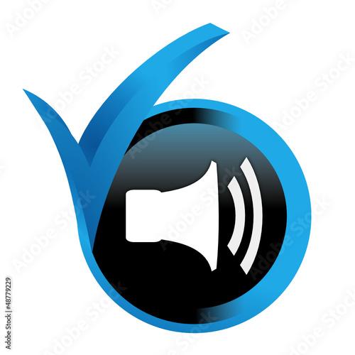 volume sur bouton validé bleu