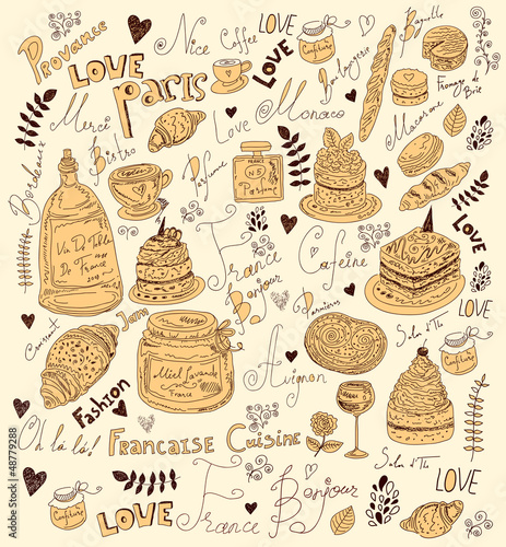Sticker Vector hand drawn menu