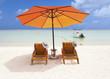 parasol sur plage de l'île Maurice