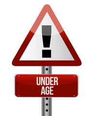 road traffic sign with an under age
