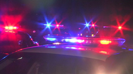 Police Cars With Flashing Lights