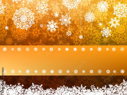 Golden Merry Christmas greeting card. EPS 8