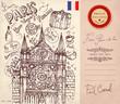 Vector hand drawn card with Paris symbols