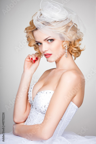 beautiful bride portrait wearing professional make-up