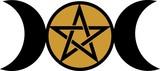 Wicca Mond - Pentakel - Pentagramm - Göttin Symbol poster