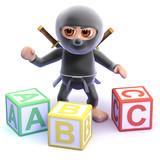 Ninja learns his alphabet with wooden blocks
