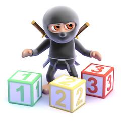 Ninja counts with wooden blocks