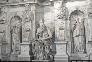 Moses by Michelangelo in San Pietro in Vincoli, Rome,Italy