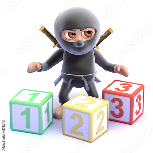 Ninja counts with wooden blocks