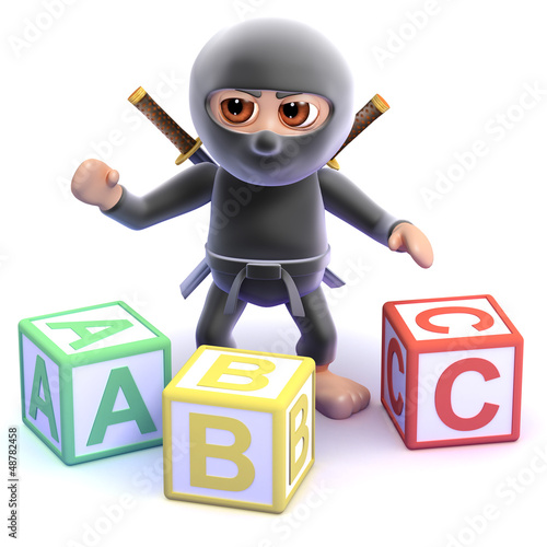 Ninja learns his alphabet with wooden blocks