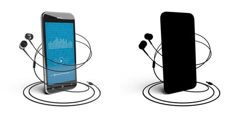 Music player. 3D model of the smartphone and headphones