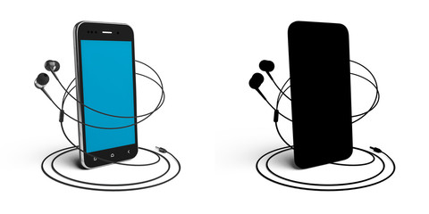 3D model of the smartphone and headphones