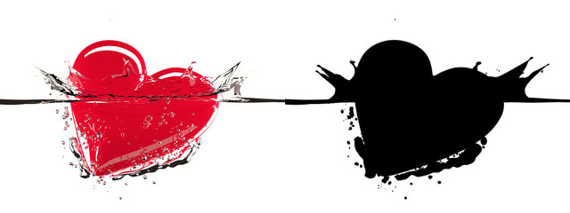 Red heart diving into water, with splashes and air bubbles