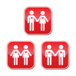 Hetero, gay, and lesbian love couples buttons set