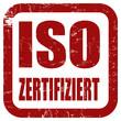 Grunge Stempel rot quad ISO ZERTIFIZIERT