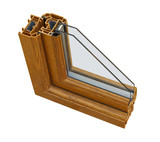 UPVC wood effect Double glazing cross section