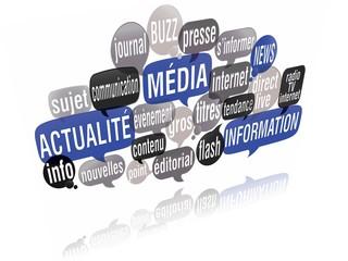 nuage de mots bulles 3d : actualité média