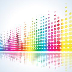 musical background with multicolored lines on white