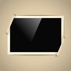 retro horizontal photo frame on paper background