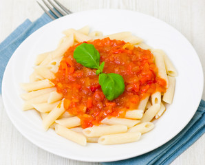 Pasta penne with tomato sauce
