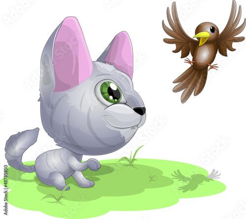 kitten and birdie