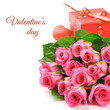 Bouquet of pink roses with Valentine's present