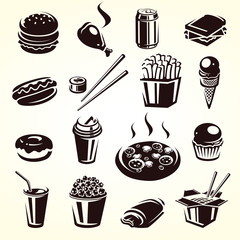 Fast food set. Vector