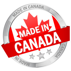 "Button mit Banner ""Made in Canada"""