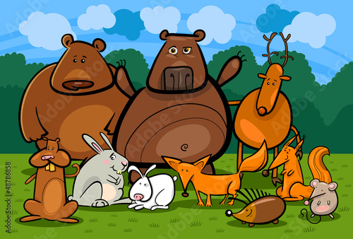Spoed canvasdoek 2cm dik Bosdieren wild forest animals group cartoon illustration