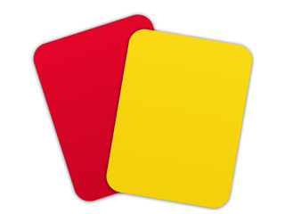Soccer - yellow card and red card overlapping