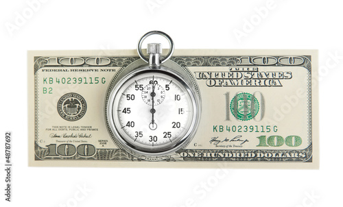 Stopwatch and a hundred American dollars