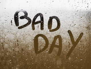 "Text ""BAD DAY"" written in a crystal"