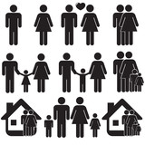 Family life black and white icon set