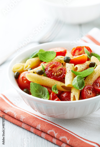 Penne with roasted cherry tomatoes and capers