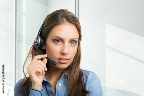 Woman using an headset