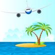 Flugzeug fliegt über Insel