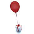 Gift with balloon red