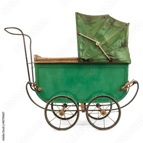 Poster Nineteenth Century baby pram isolated on white