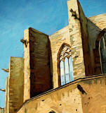 Church Santa Maria del Mar in Barcelona, painting,  illustration