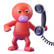 Superhero answers the telephone