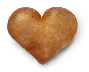 Heart shaped Potato. Saturated colors.