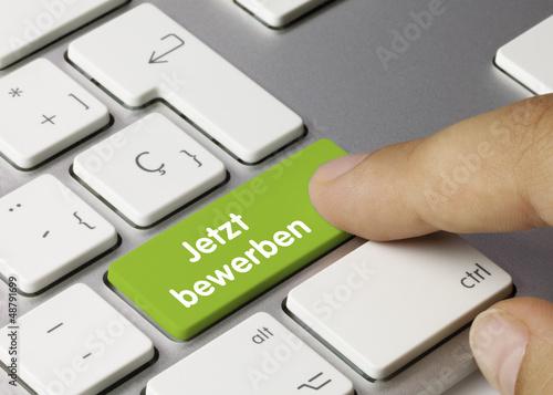 Leinwanddruck Bild Jetzt bewerben Tastatur. Finger
