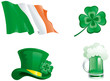 Set of  green hat, beer, clover, and ireland flag.