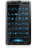Smartphone mit leuchtenden Icons